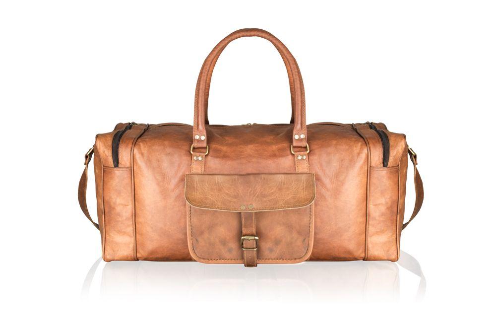 """Woodland Leather 23"""" Tan Vintage Multi Pocket Holdall Adjustable Shoulder Strap"""