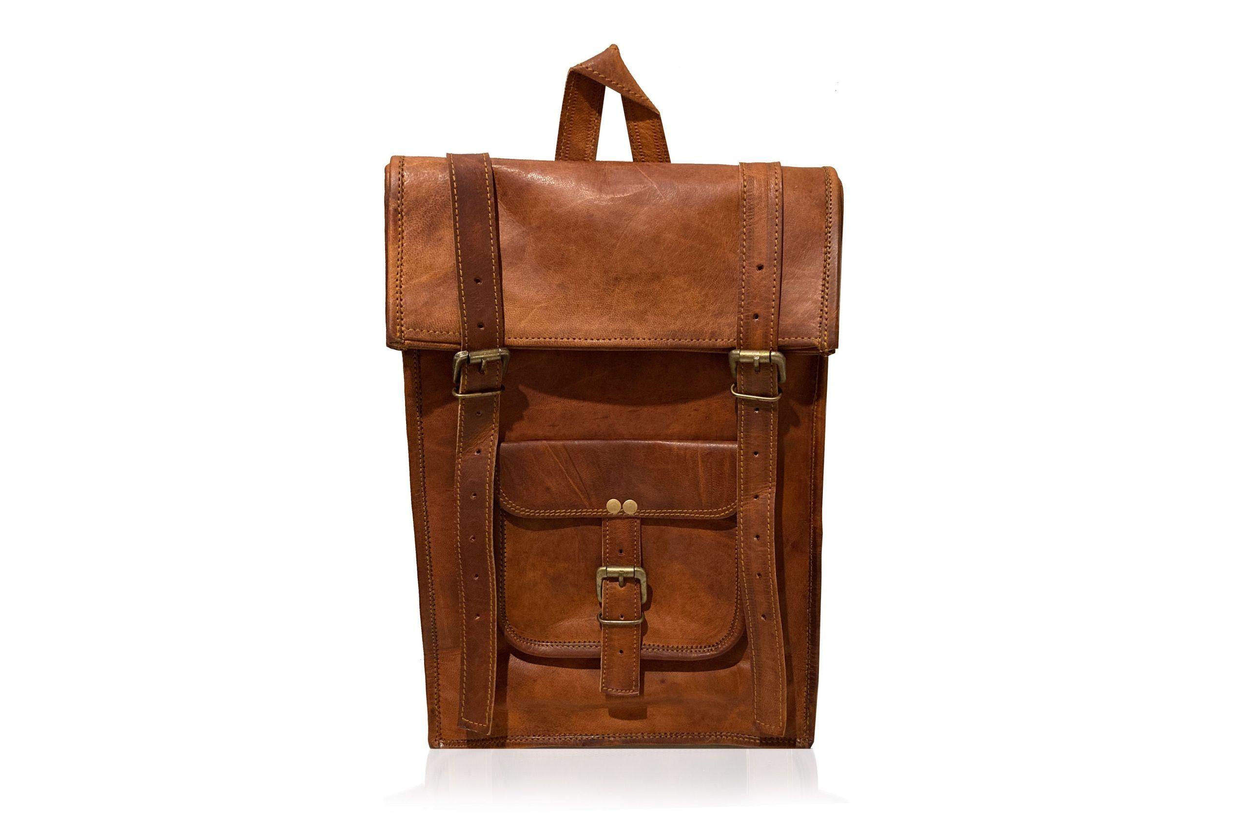 Woodland Leather Tan Vintage Front Pocket Backpack Adjustable Shoulder Strap