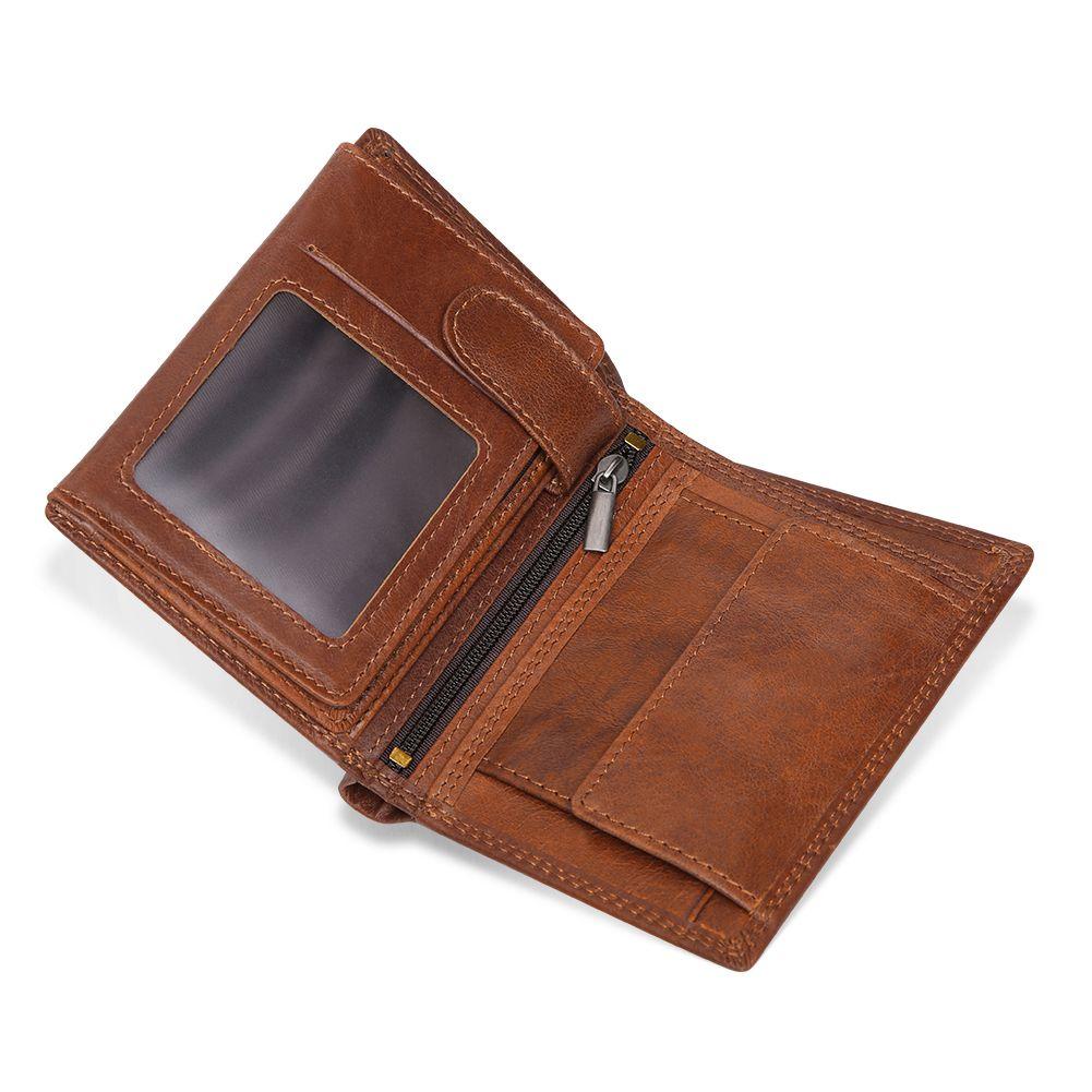 Men's Vintage Genuine Leather Tri-fold Rfid Wallet
