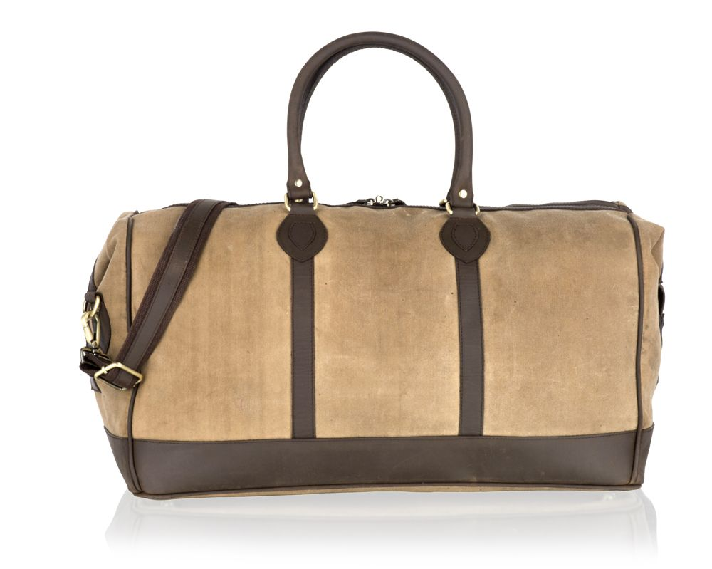 """Woodland Leather Beige Canvass And Brown Leather Large Holdall 22.0"""" Wide Central Zip Opening Adjustable Shoulder Strap"""