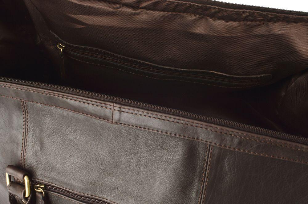 """Woodland Leather Brown Medium Size Travel Holdall 20.0"""" Central Zip Adjustable Shoulder Strap"""