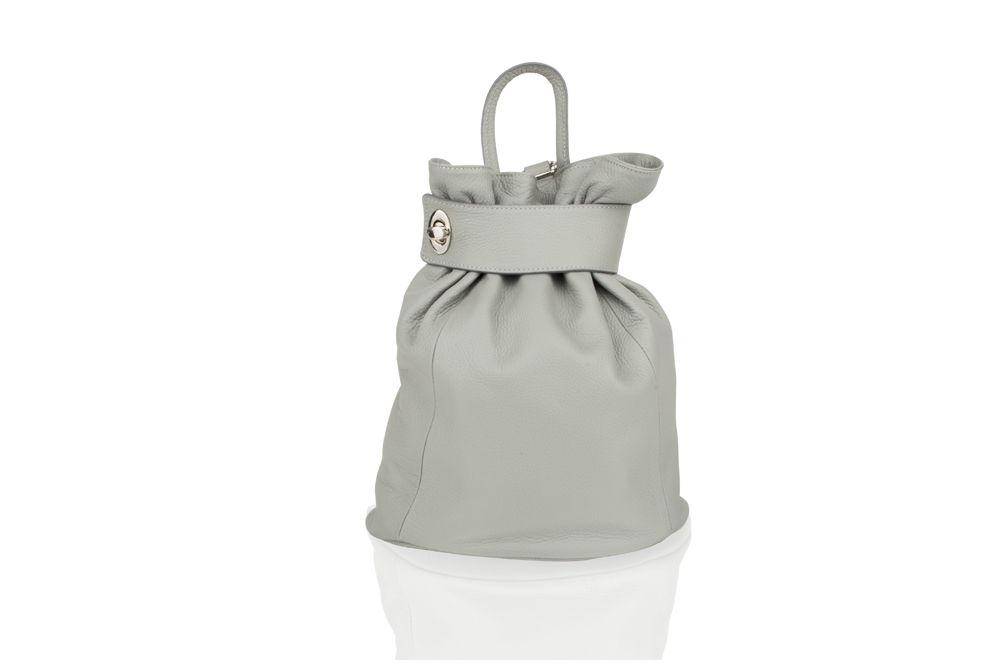 "Woodland Leather Grey Medium Size Ruck Sack 12.0"" Carry Handle Adjustable Straps"