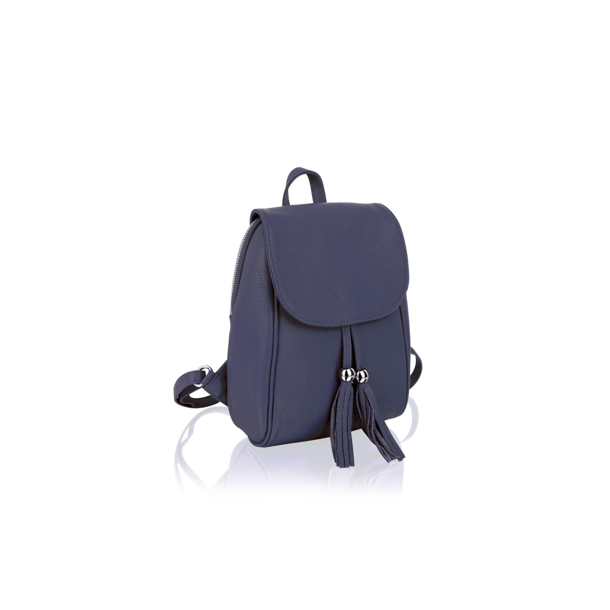 """Woodland Leather Tan 11.0"""" Mini Ruck Sack Tassel Front Adjustable Shoulder Strap"""