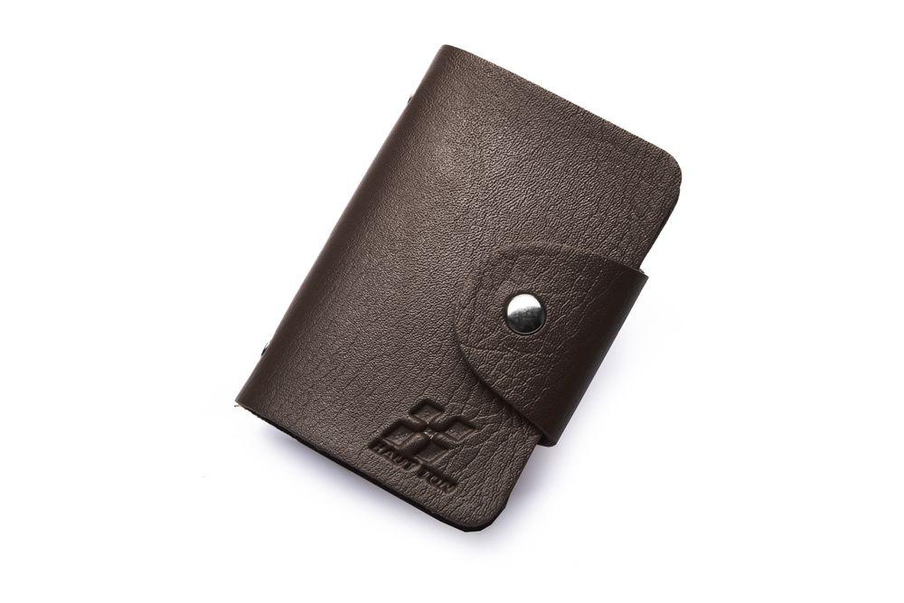 Hautton Black 24 Credit Card Wallet Stud Front
