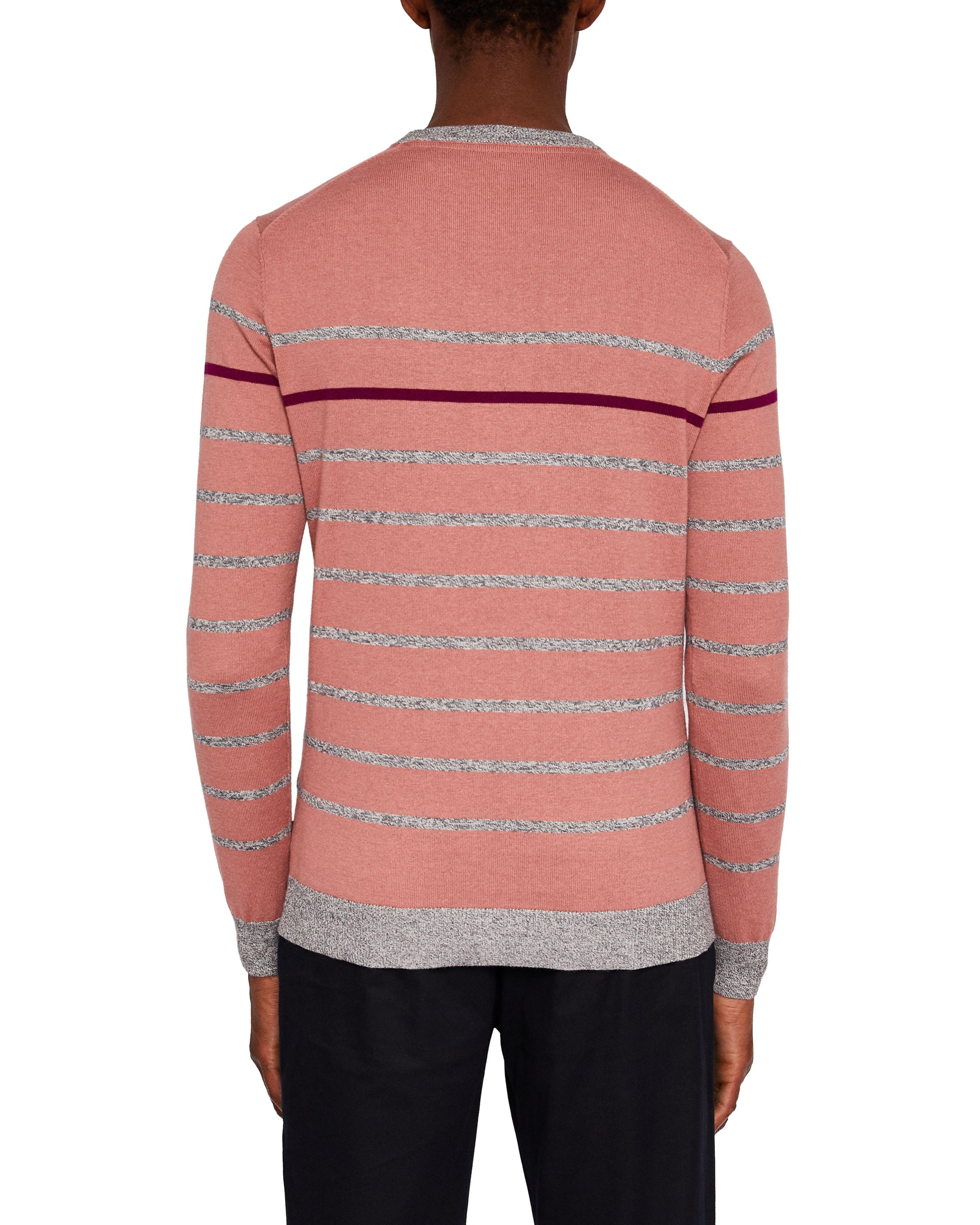 Ted Baker Britnay Long-Sleeved Stripe Crew Neck, Pink