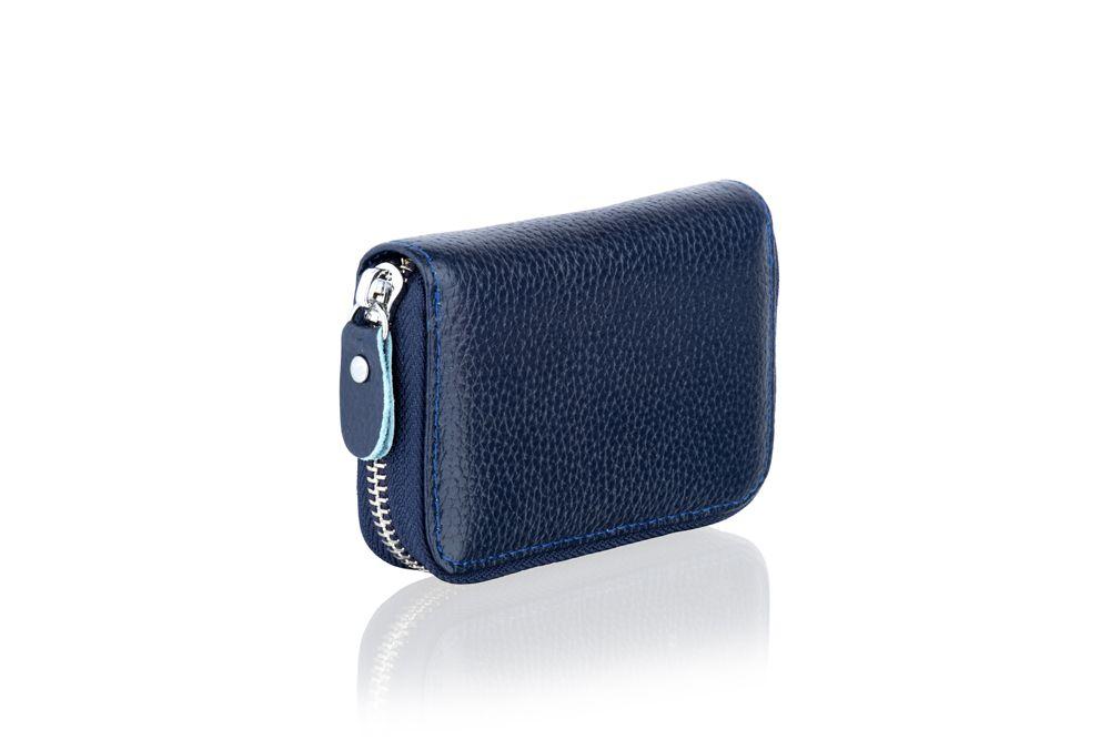 "Woodland Leather BlueCard Holder Zip Purse 4.0"""
