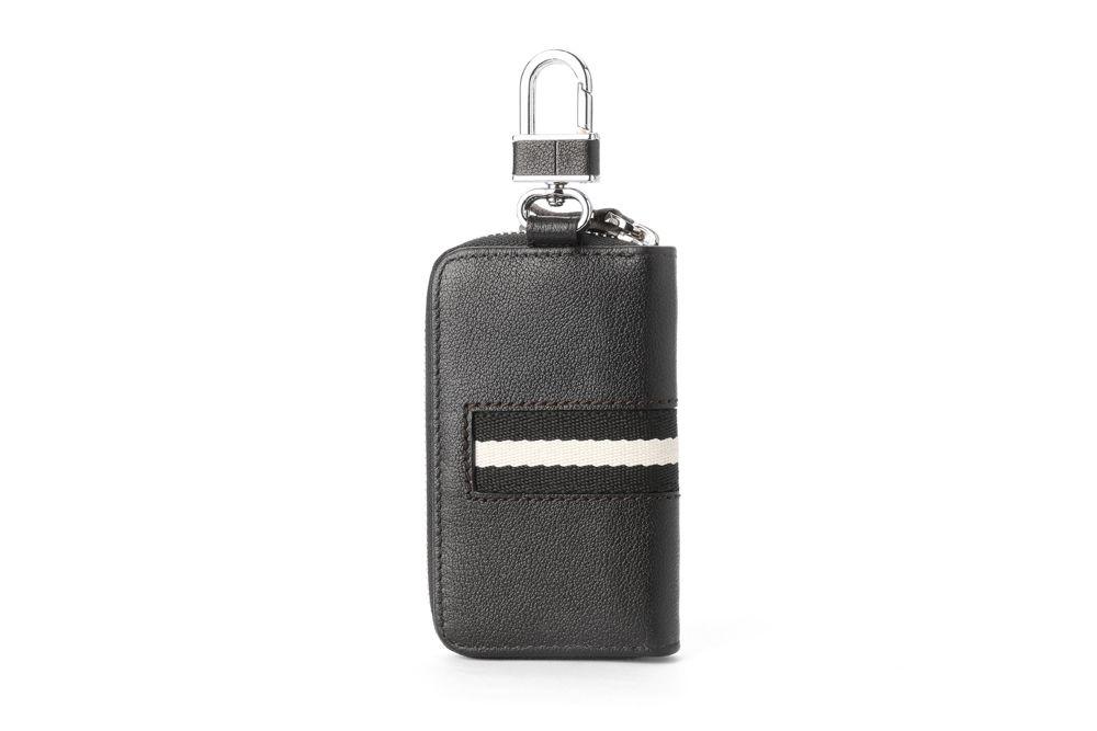 """Hautton Leather Black Contrast Zip Around Key Case 4.0"""" Interlocking Hook"""