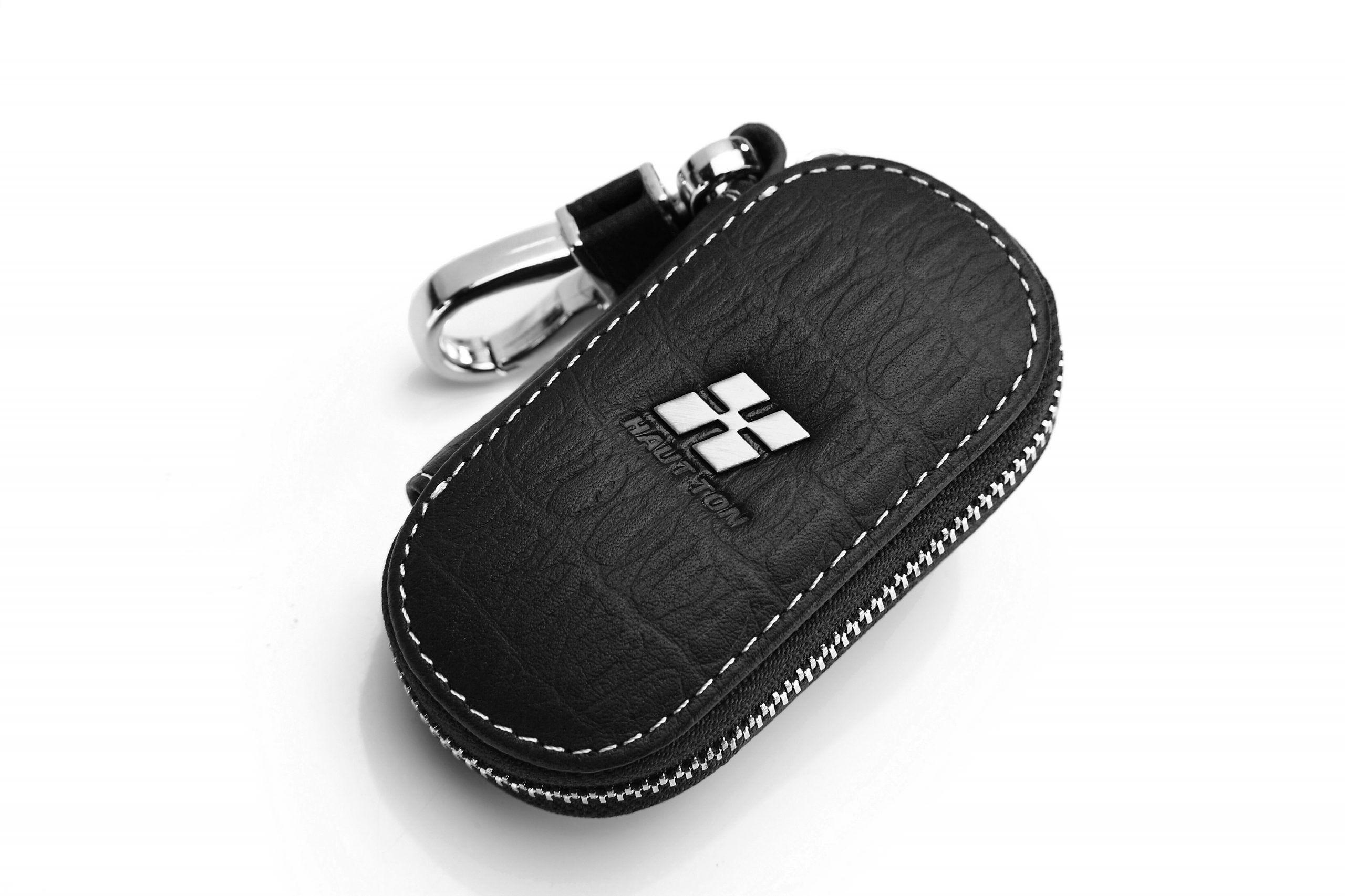 """Hautton Leather Black Plain With White Stitch Contrast Zip Around Key Case 4.0"""" Interlocking Hook"""