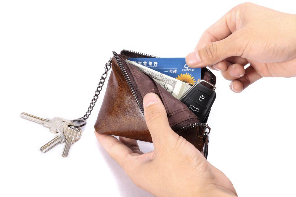 "Hautton Leather Brown Zip Around Key Chain 4.5"" Secure Wallet"