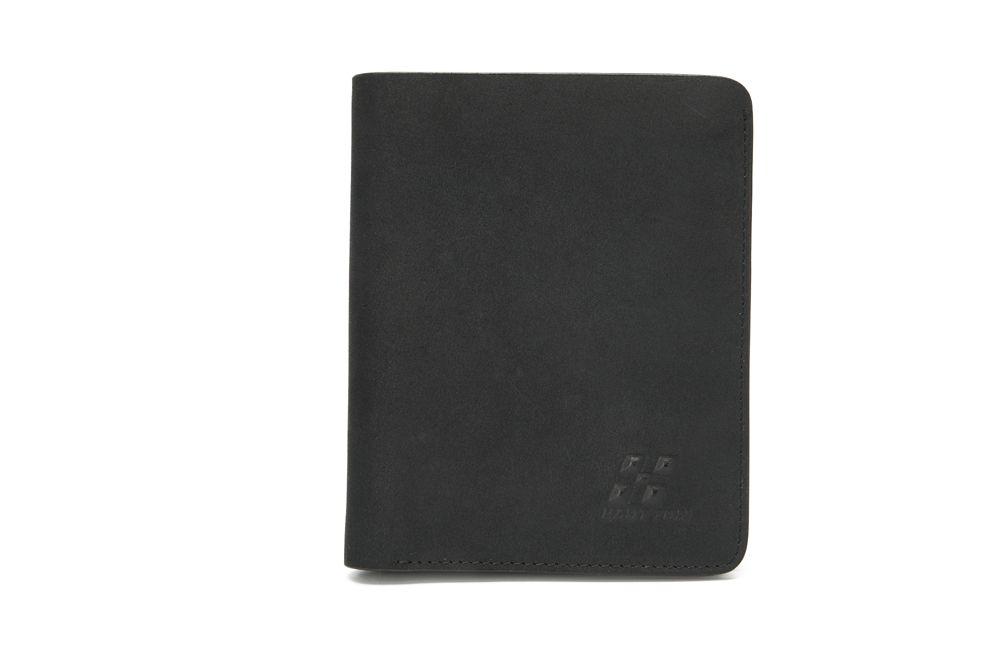 "Hautton Soft Black Nu Buck Leather Wallet 4.5"" Multi Pockets"