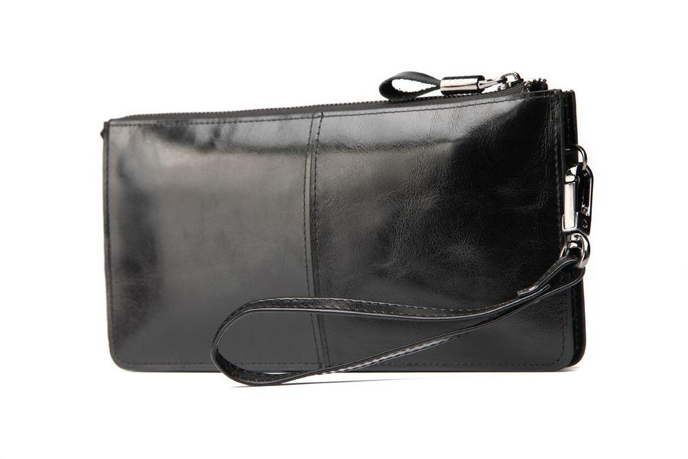"Hautton Leather Black Wrist Bag 8.0"" Central Zip Compartment Removeable Strap"
