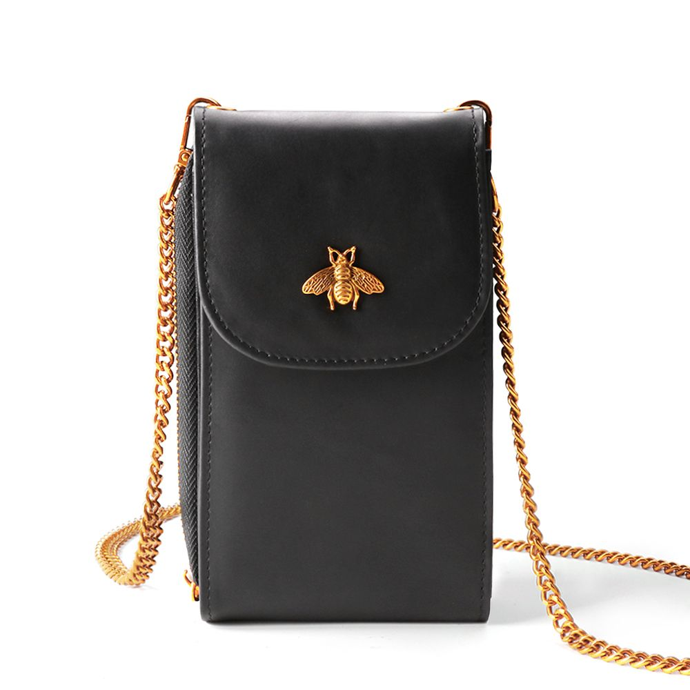 Women's Small Leather Bee Sling Bag