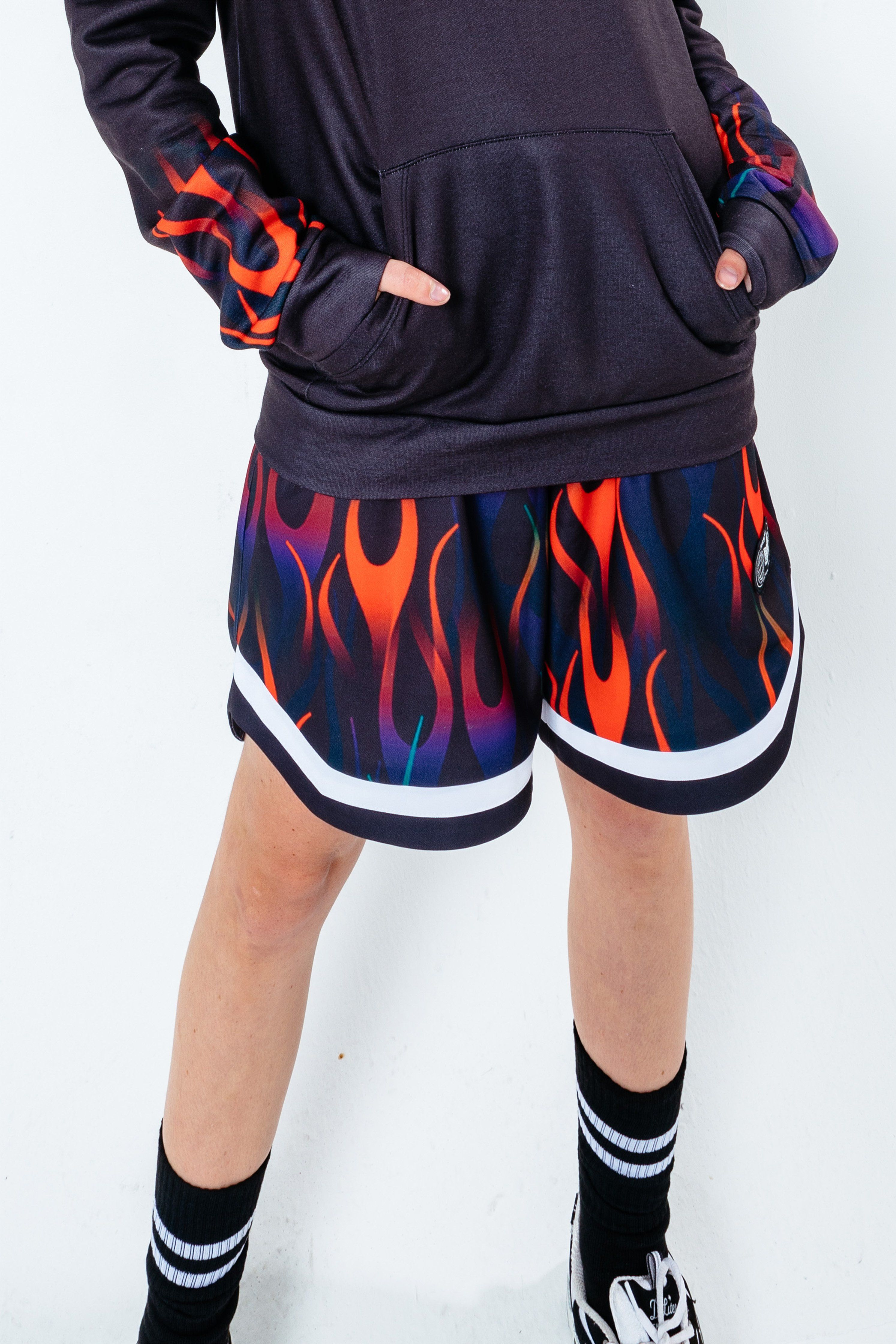 HYPE X BACK TO THE FUTURE BLACK FLAME BASKETBALL SHORTS