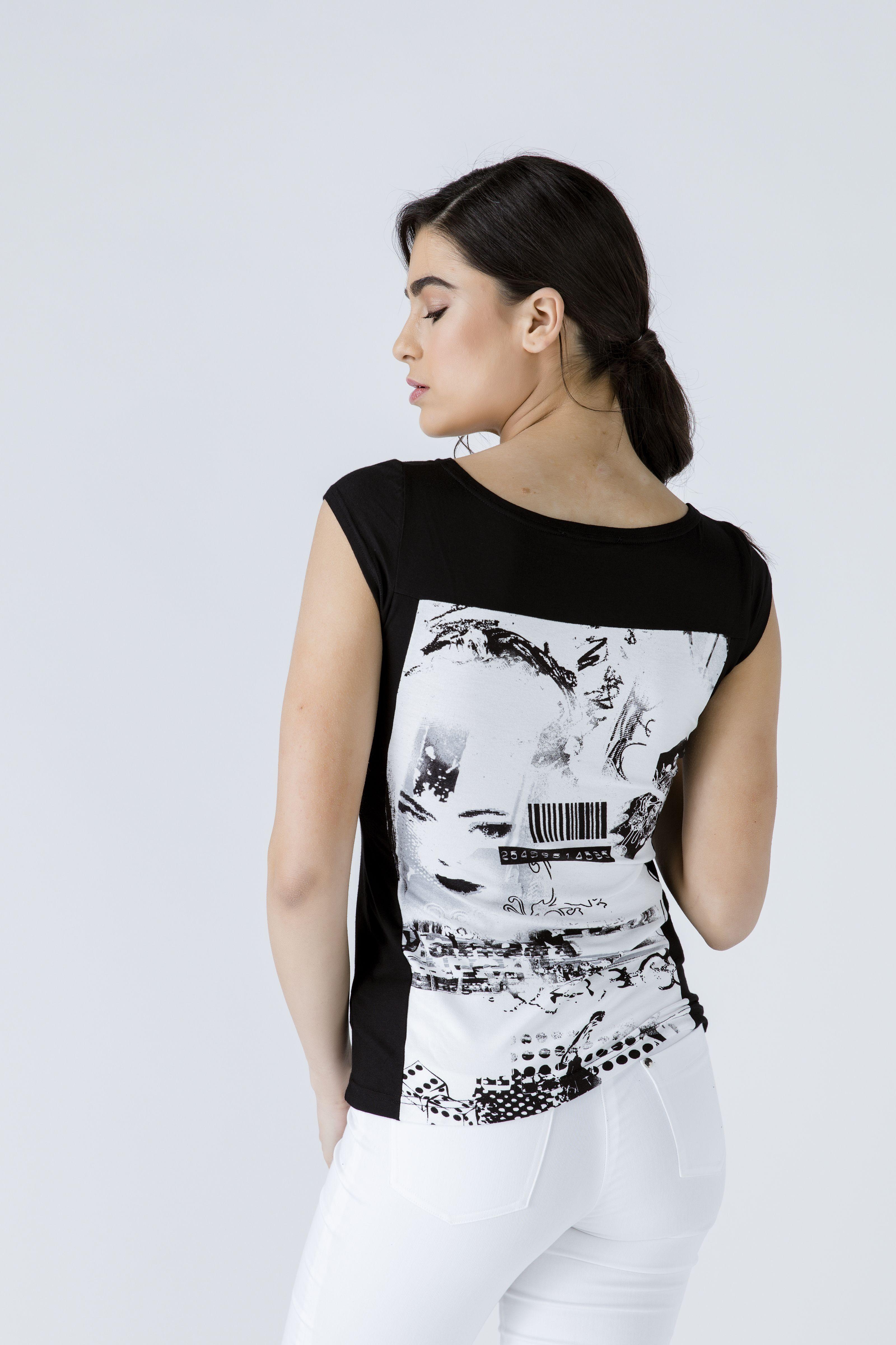 Black Print Detail Cap Sleeve Top