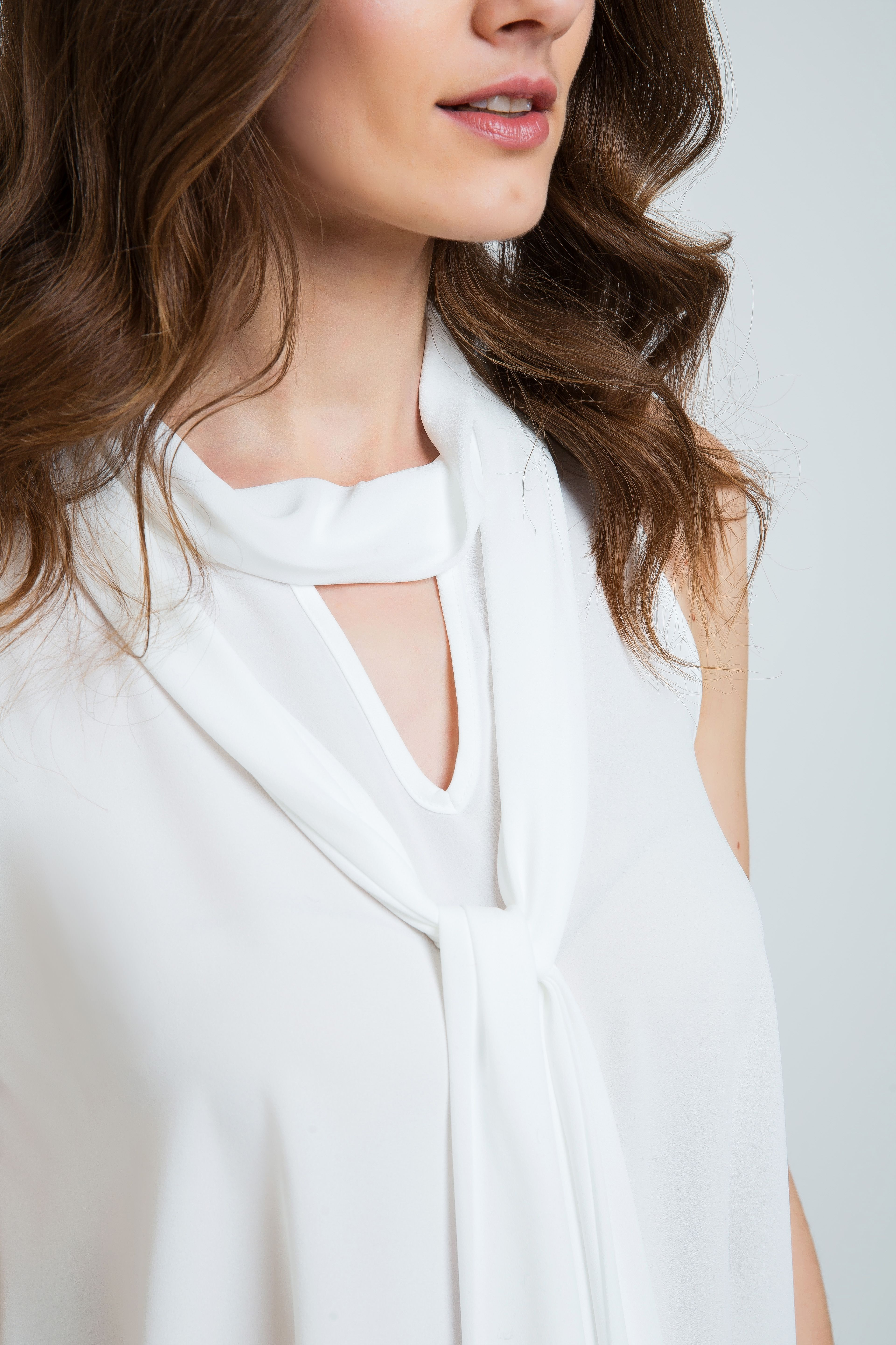 Tie Detail Sleeveless Top Ecru