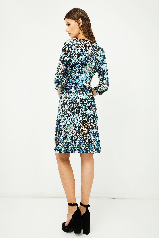 Print Jersey Faux Wrap Dress in Blue