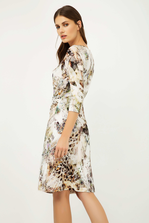 Print Jersey Faux Wrap Dress in Beige