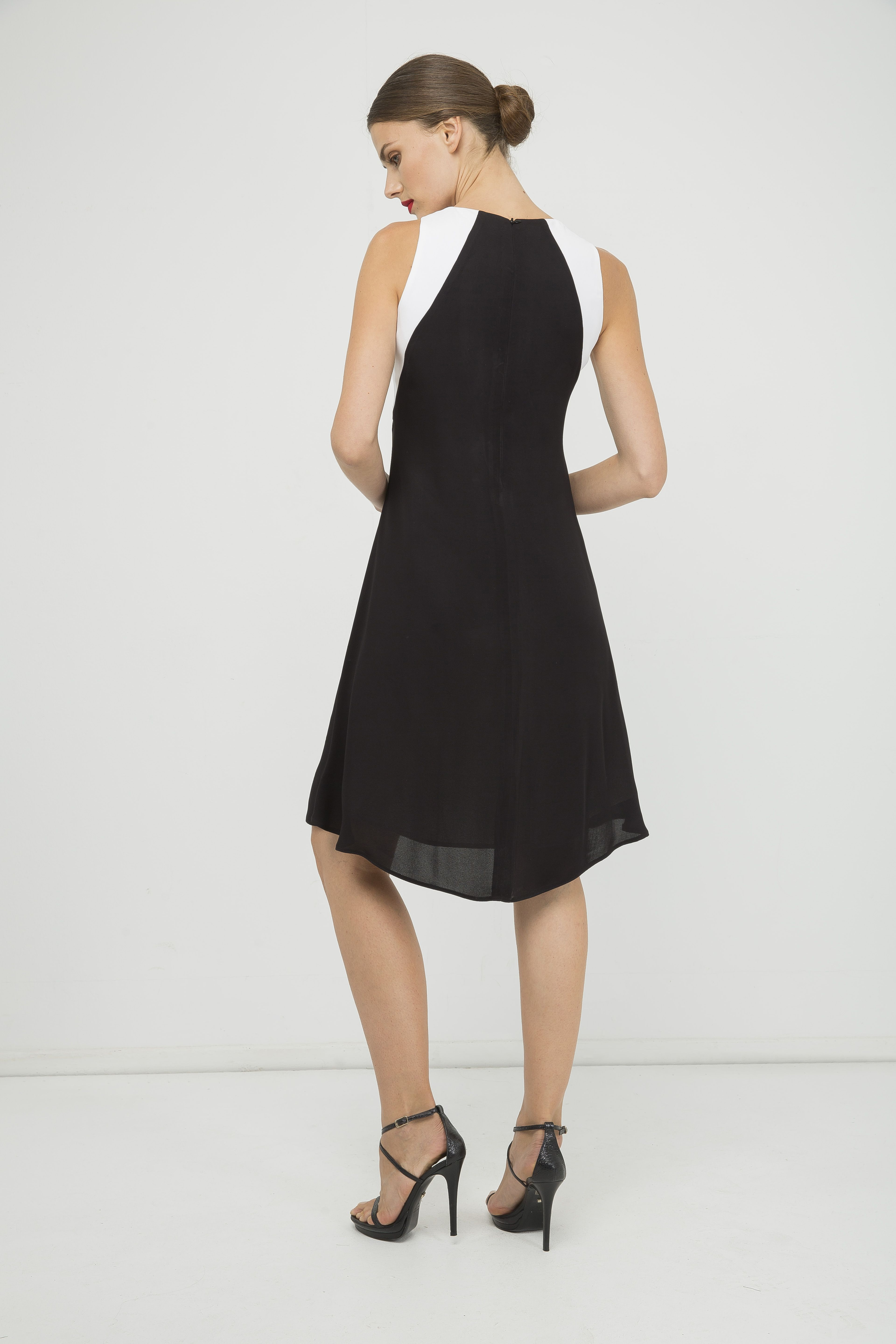Sleeveless A Line Black Dress