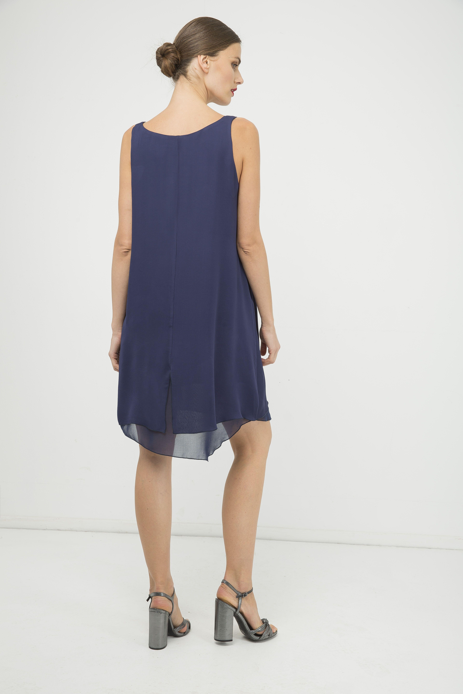 Blue Sleeveless Layer Dress with Slit