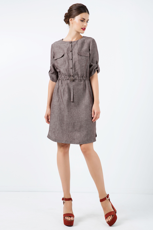 Straight Brown Linen Dress with Belt Detail