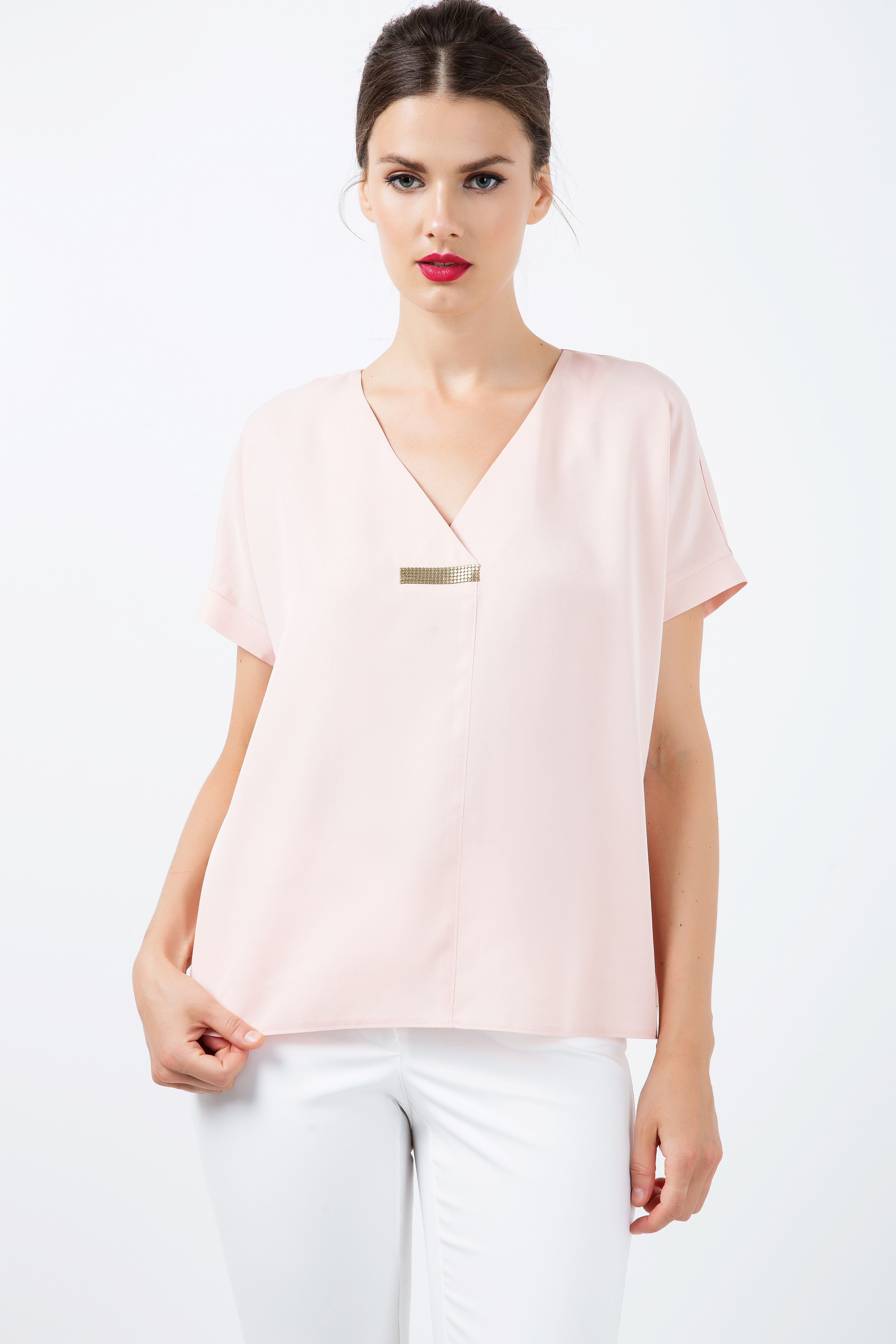 Short Sleeve top with V Neck Detail