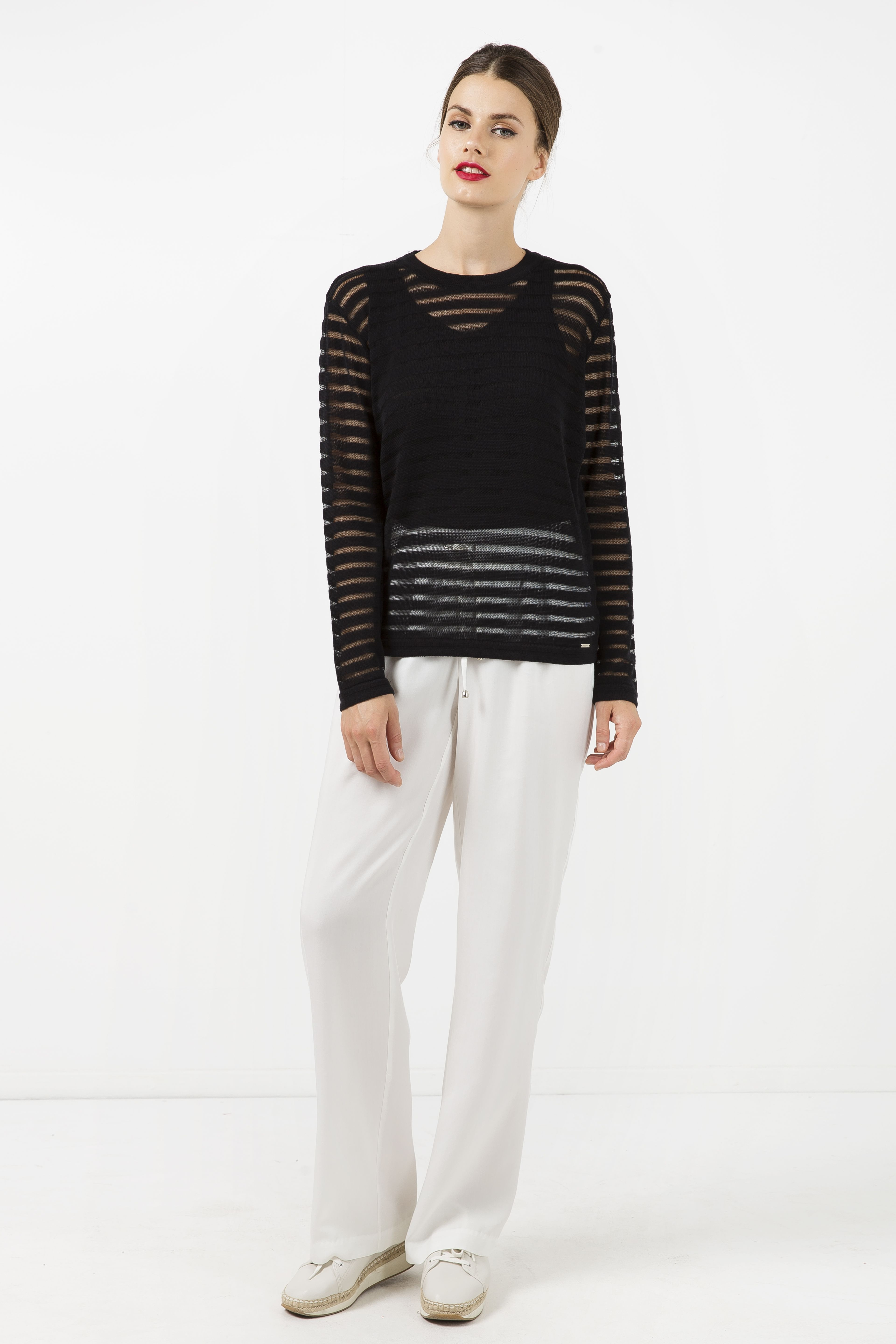Black Knit Top with Semi Sheer Stripes