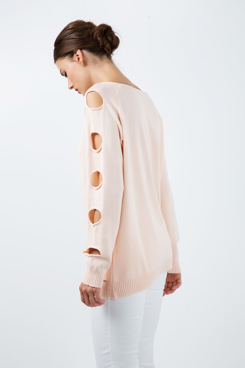 Hole Detail Loose Apricot Sweater