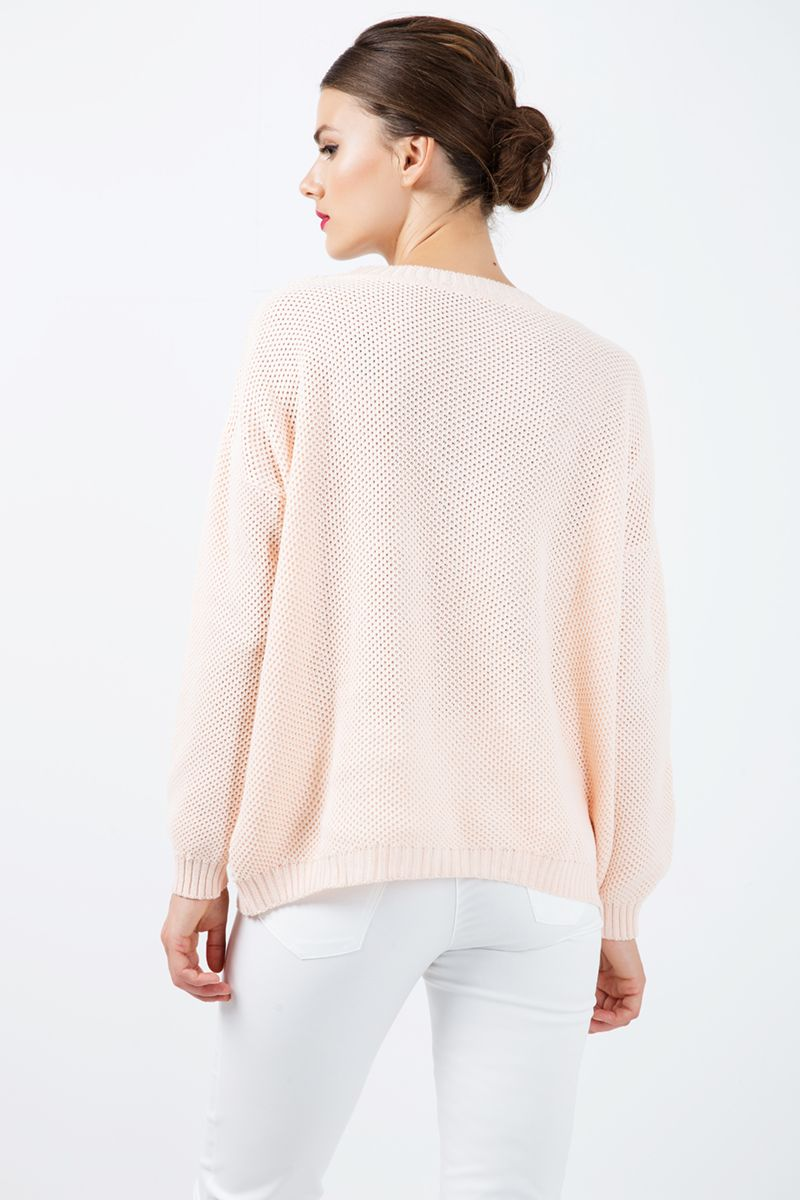 Loose Long Sleeve Apricot Sweater