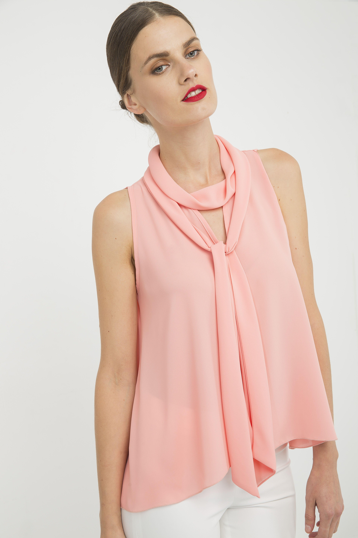 Peach Sleeveless Top with Tie Neck