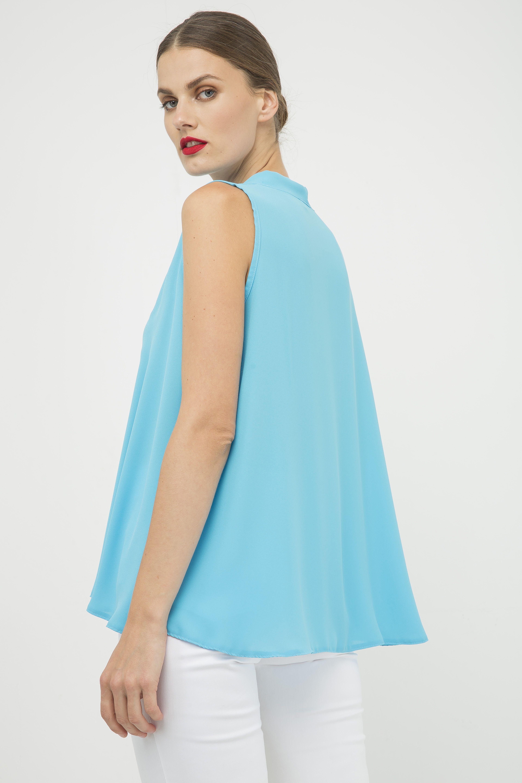 Turquoise Sleeveless Tie Detail Top
