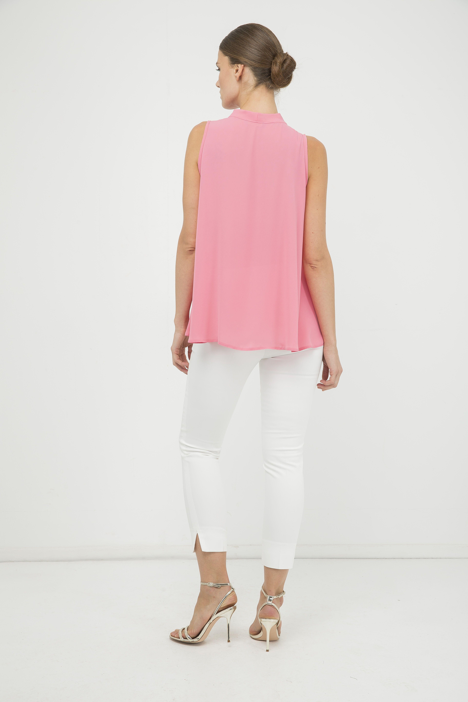 Pink Sleeveless Tie Detail Top