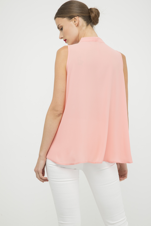 Peach Sleeveless Tie Detail Top
