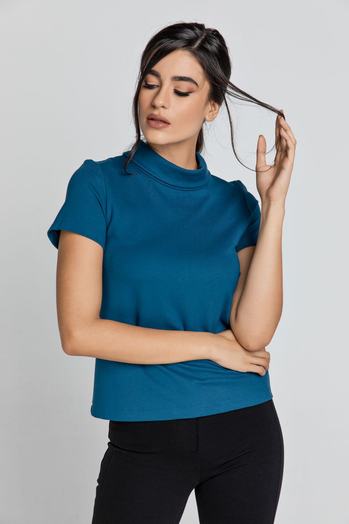 Short Sleeve Petrol Blue Top