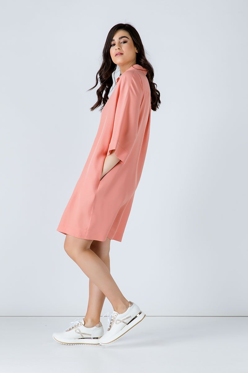 Oversized Coral Tencel Dress