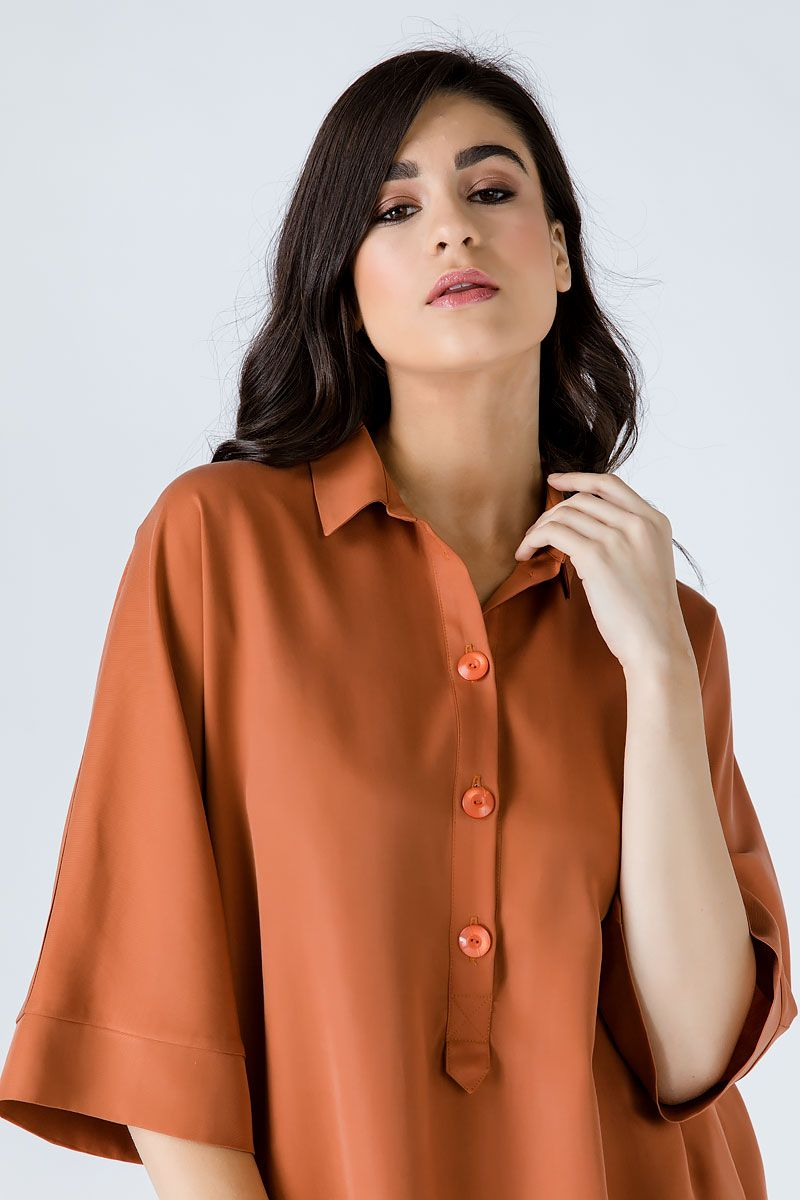 Oversized Rust Tencel Dress