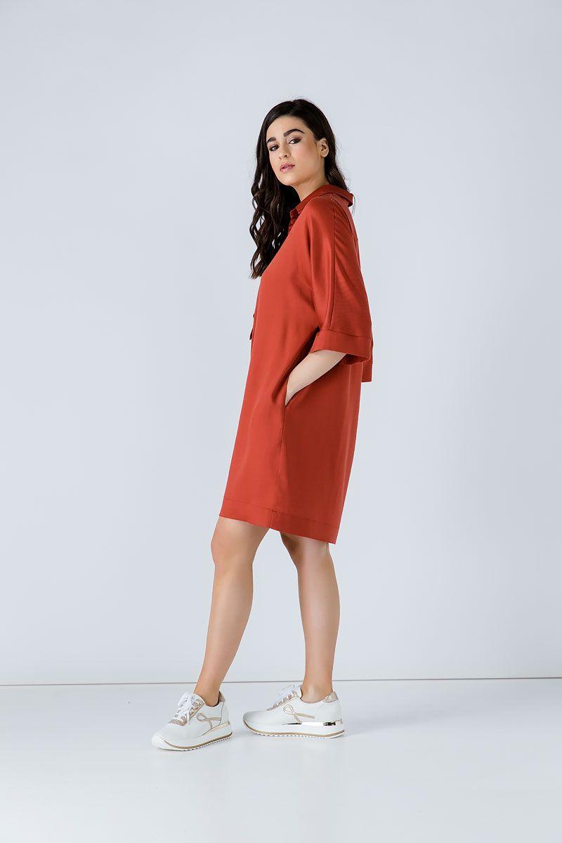 Brick Colour Oversized Linen Dress