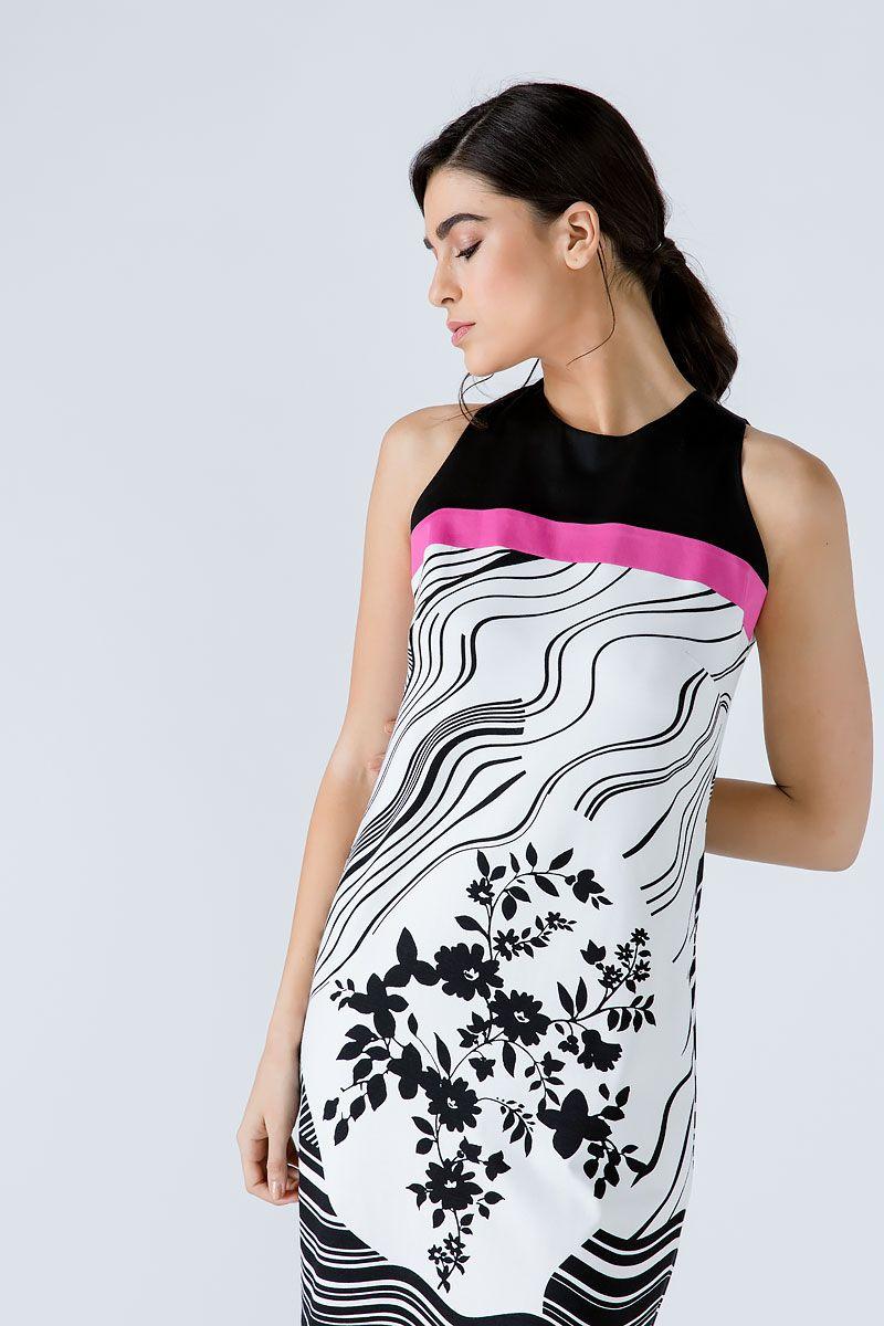 A Line Black Print Dress