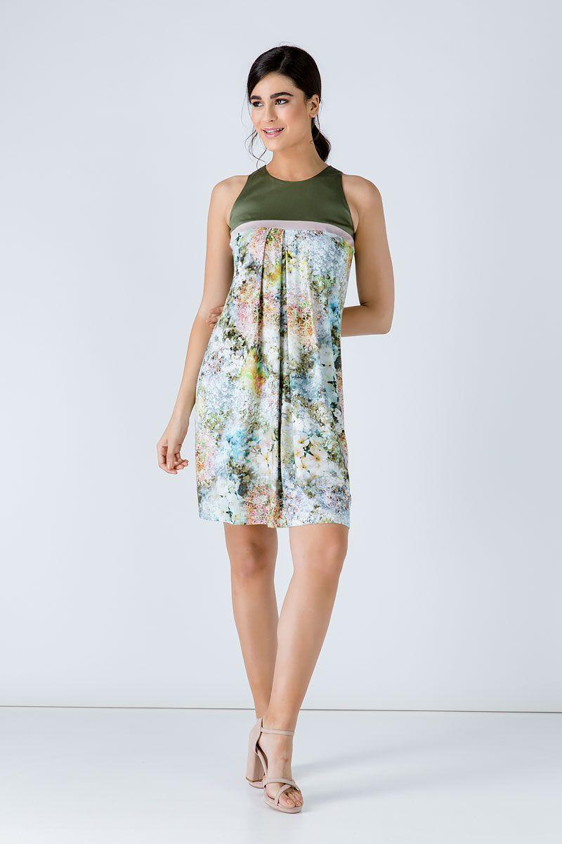 A Line Khaki Floral Dress