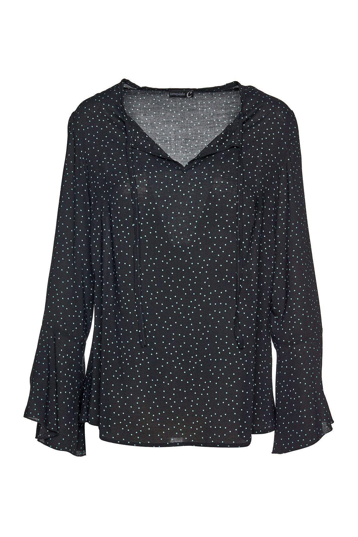 Loose Fitting Polka Dot Top with Ties