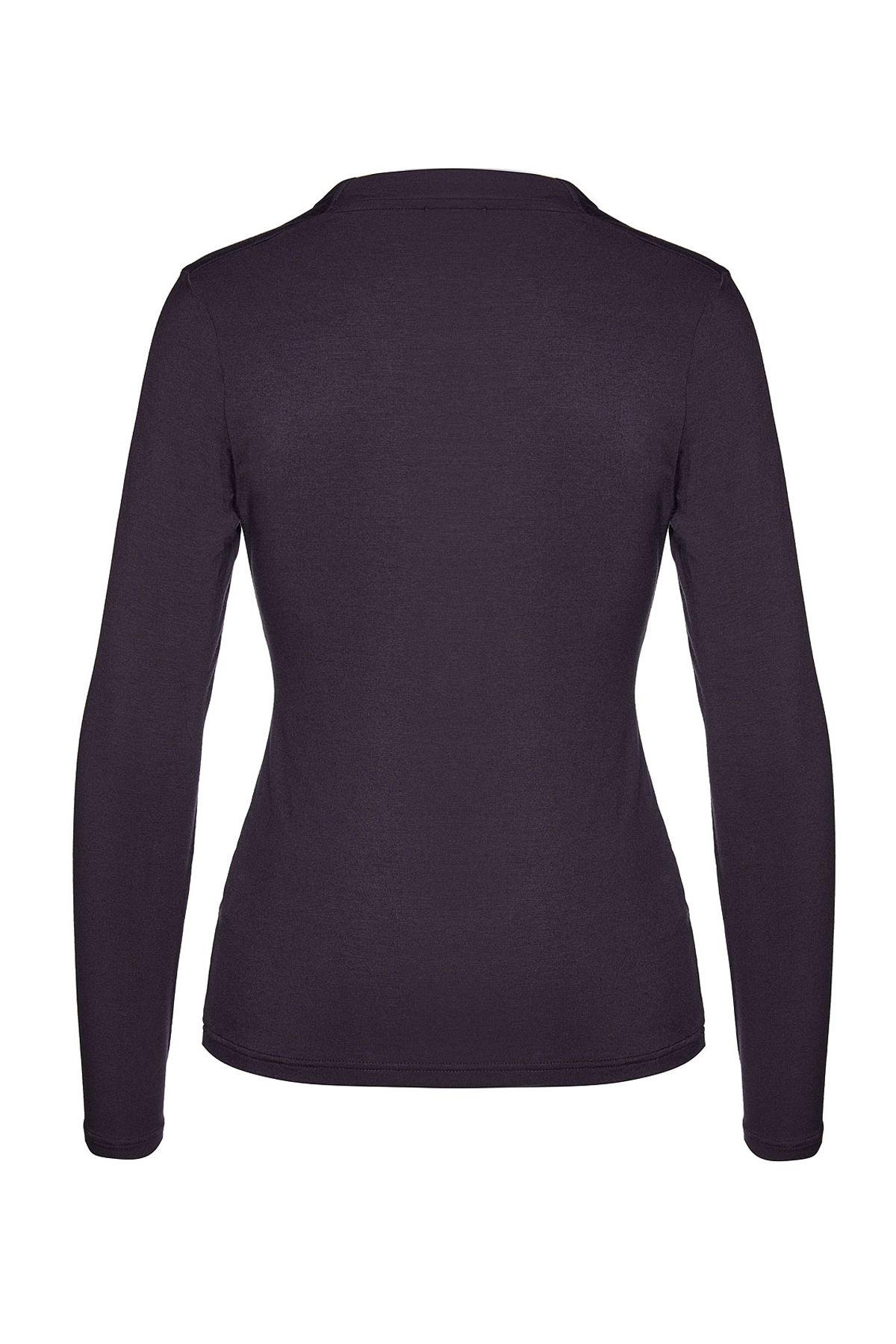 Ink Long Sleeve Faux Wrap Top in Stretch Jersey Sustainable Fabric