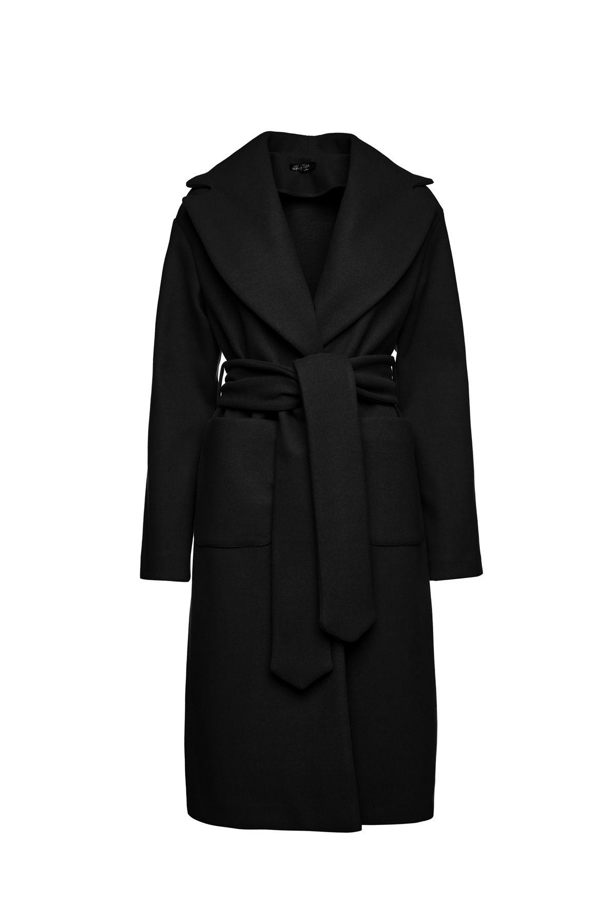 Long Black Mouflon Coat with Belt