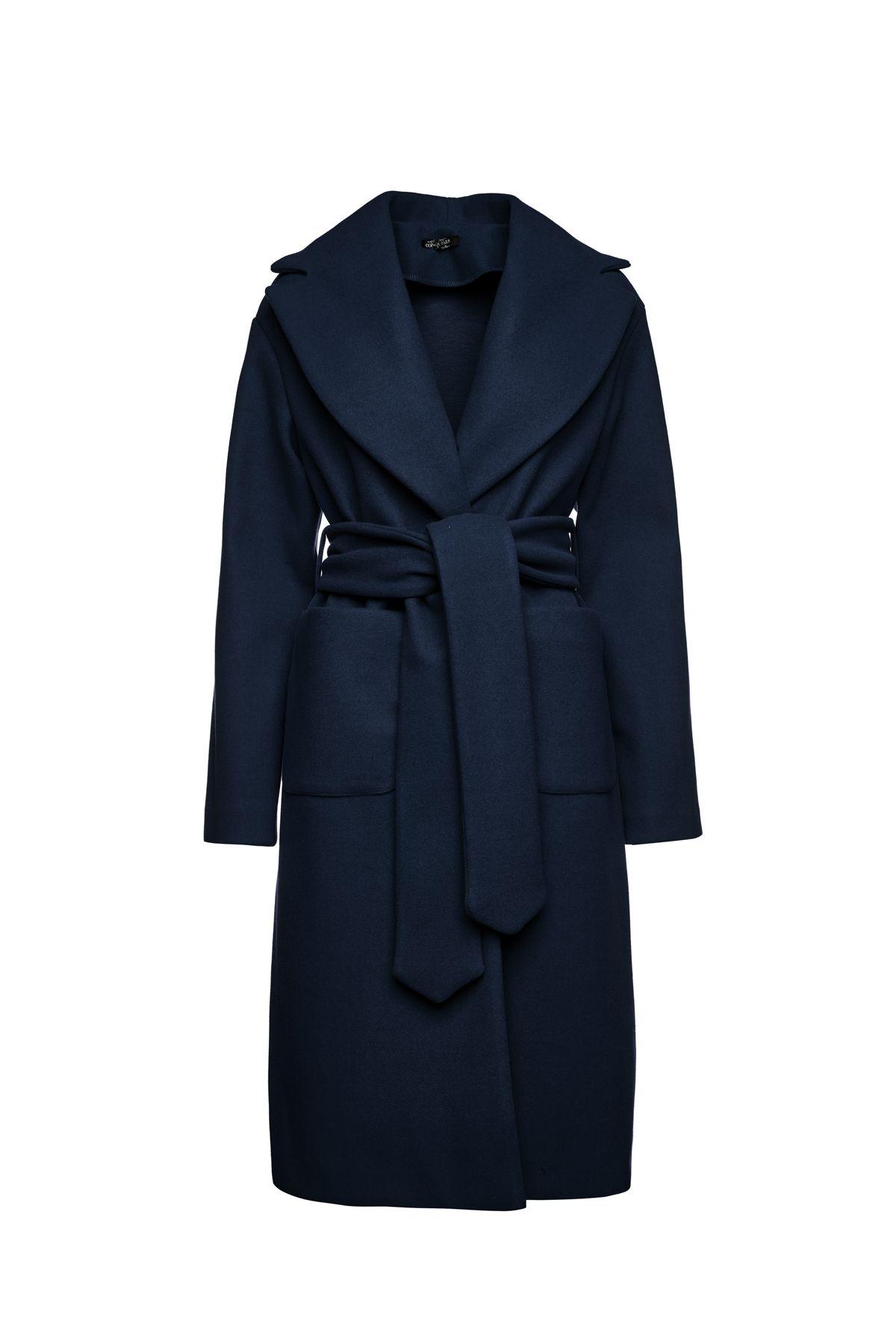 Long Navy Blue Mouflon Coat with Belt