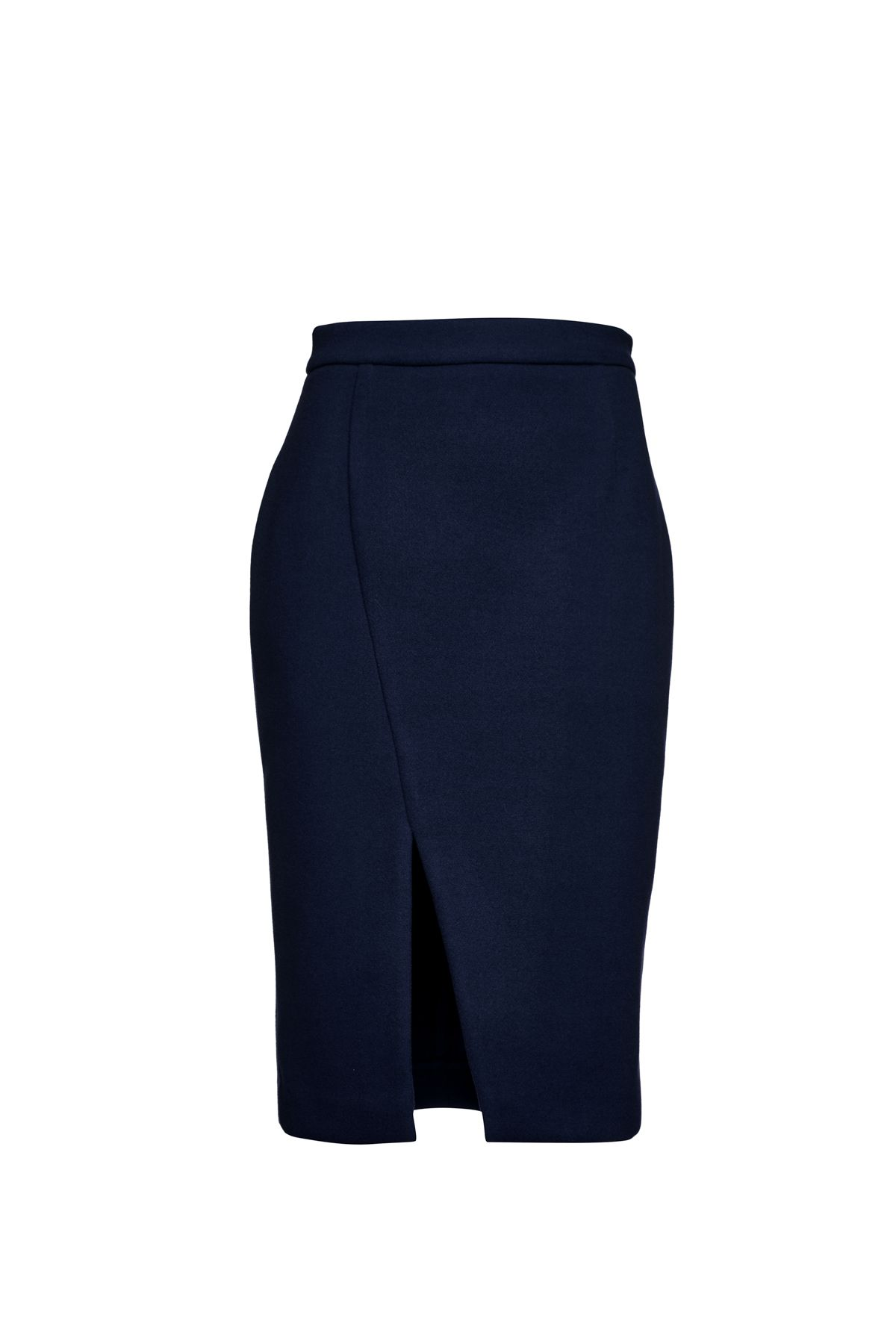 Navy Blue Mouflon Pencil Skirt