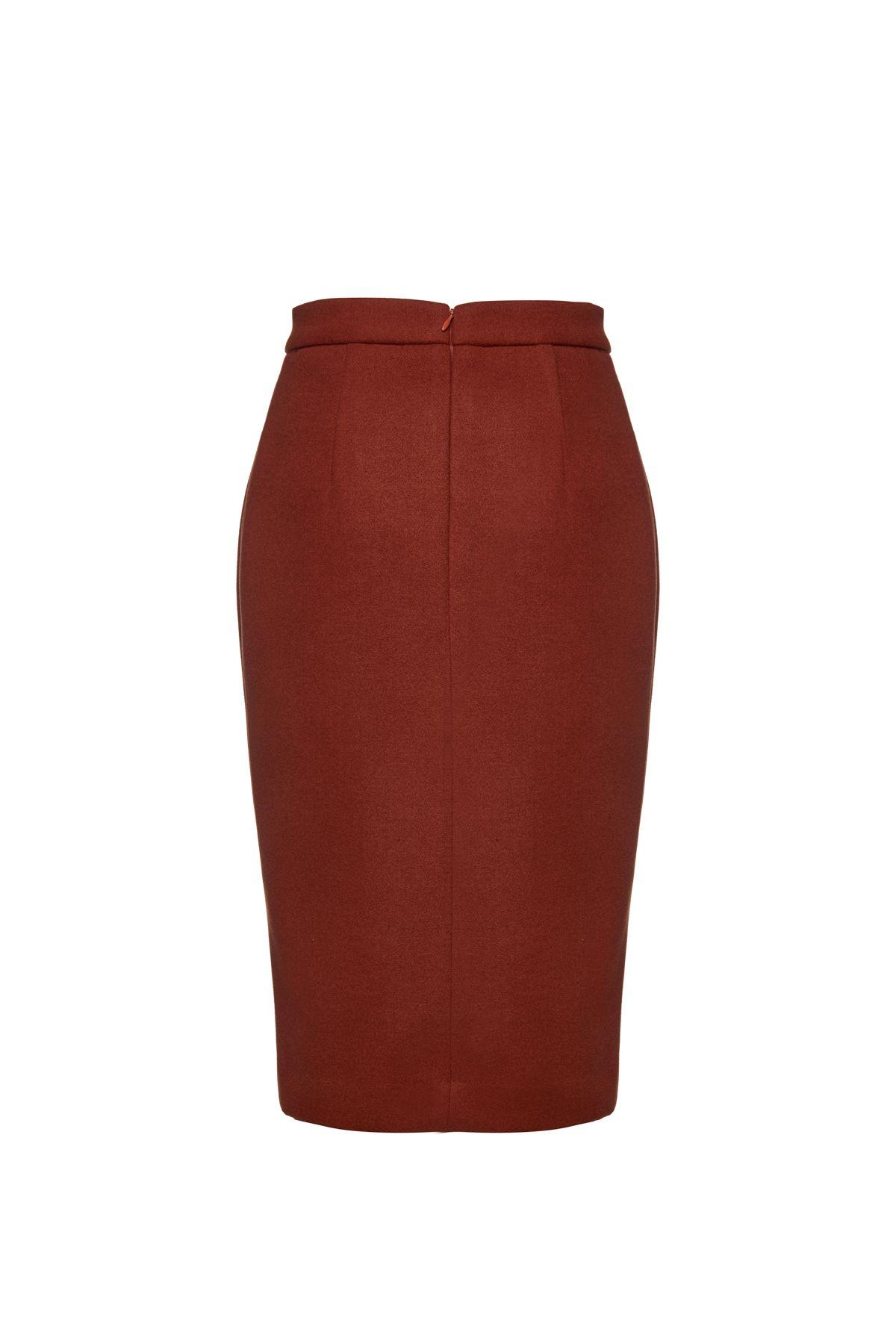 Brick Red Mouflon Pencil Skirt