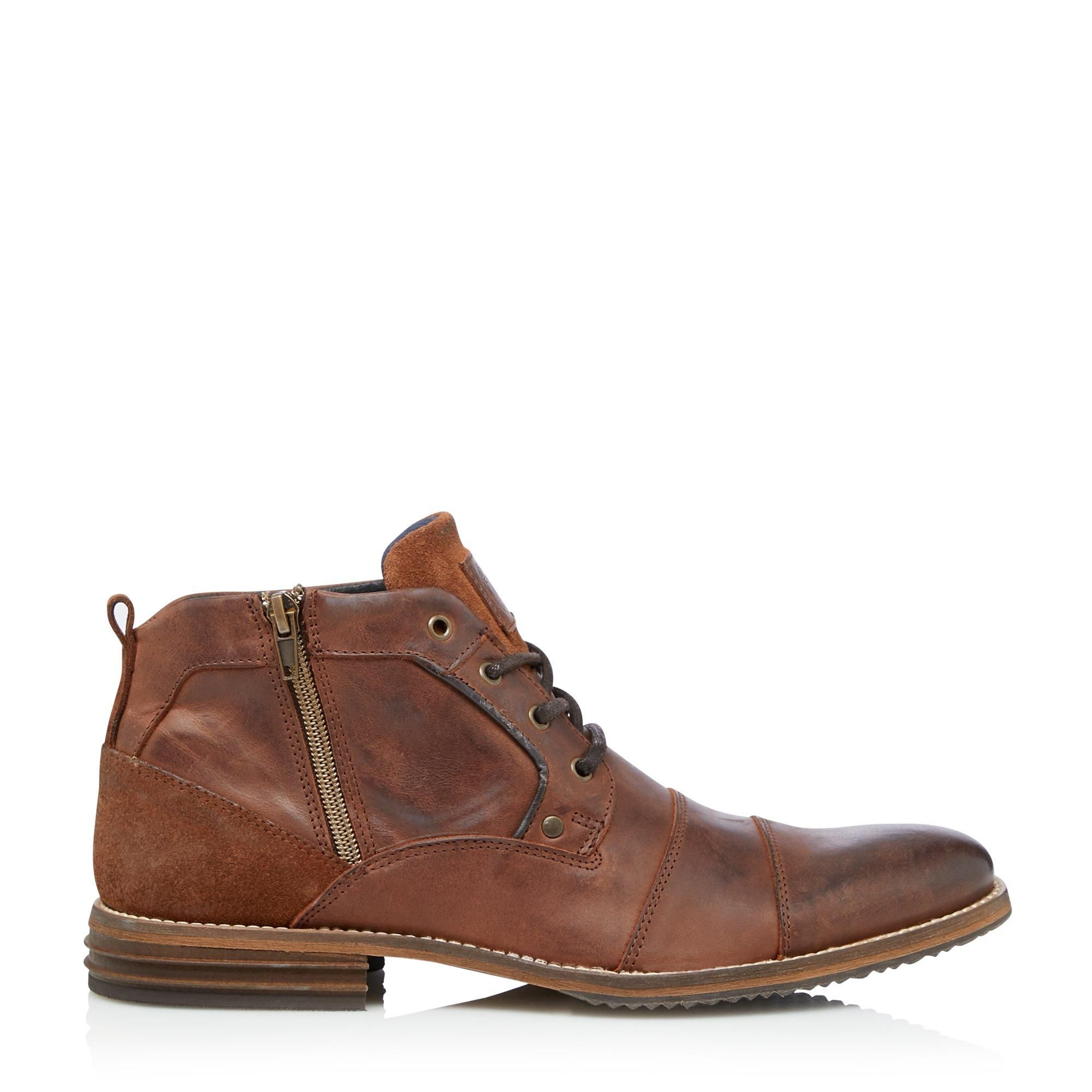 Dune Mens CAPITALS Casual Zip Detail Lace Up Boots