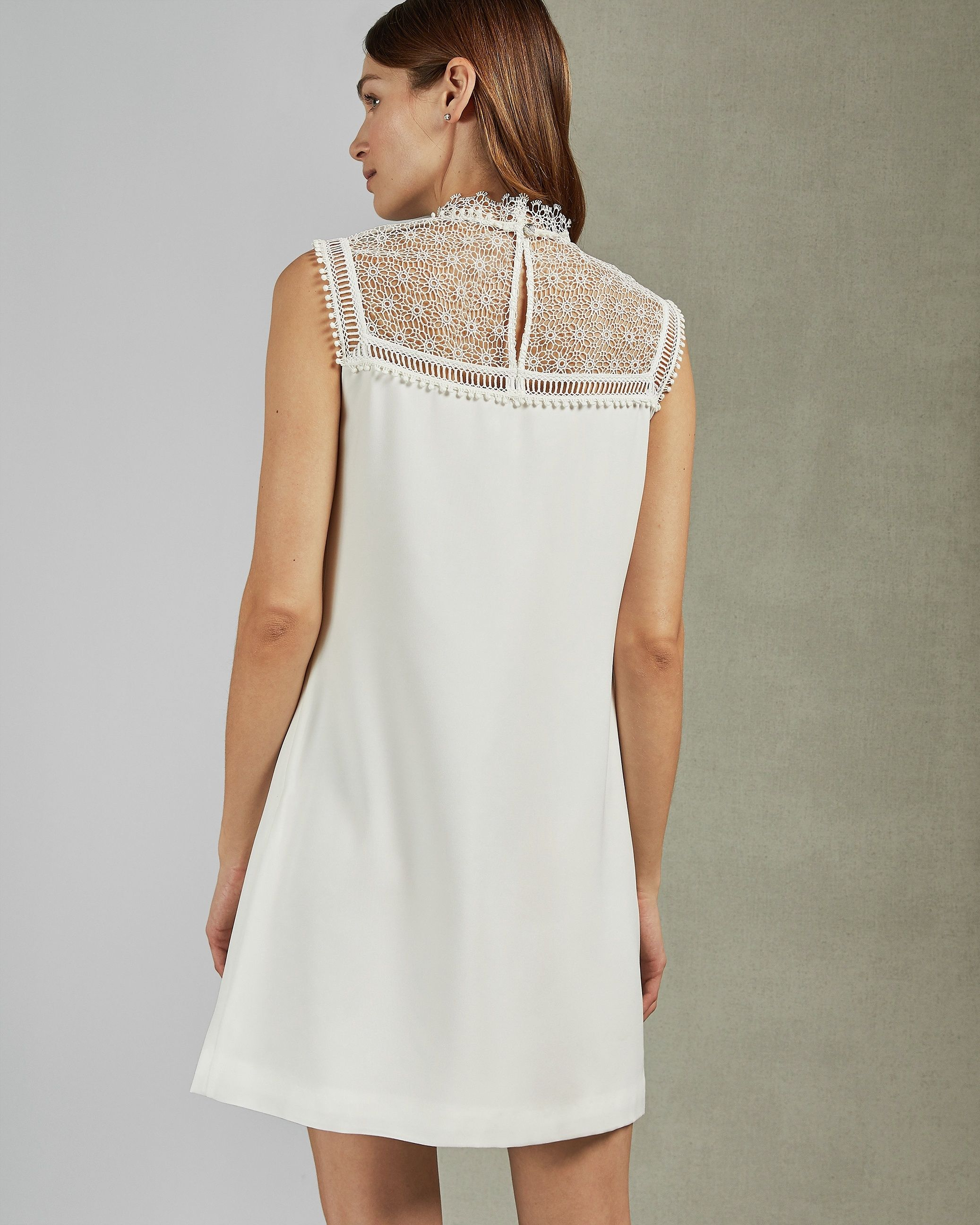 Ted Baker Carsey Lace Yoke And Sleeve Tunic in Ivory