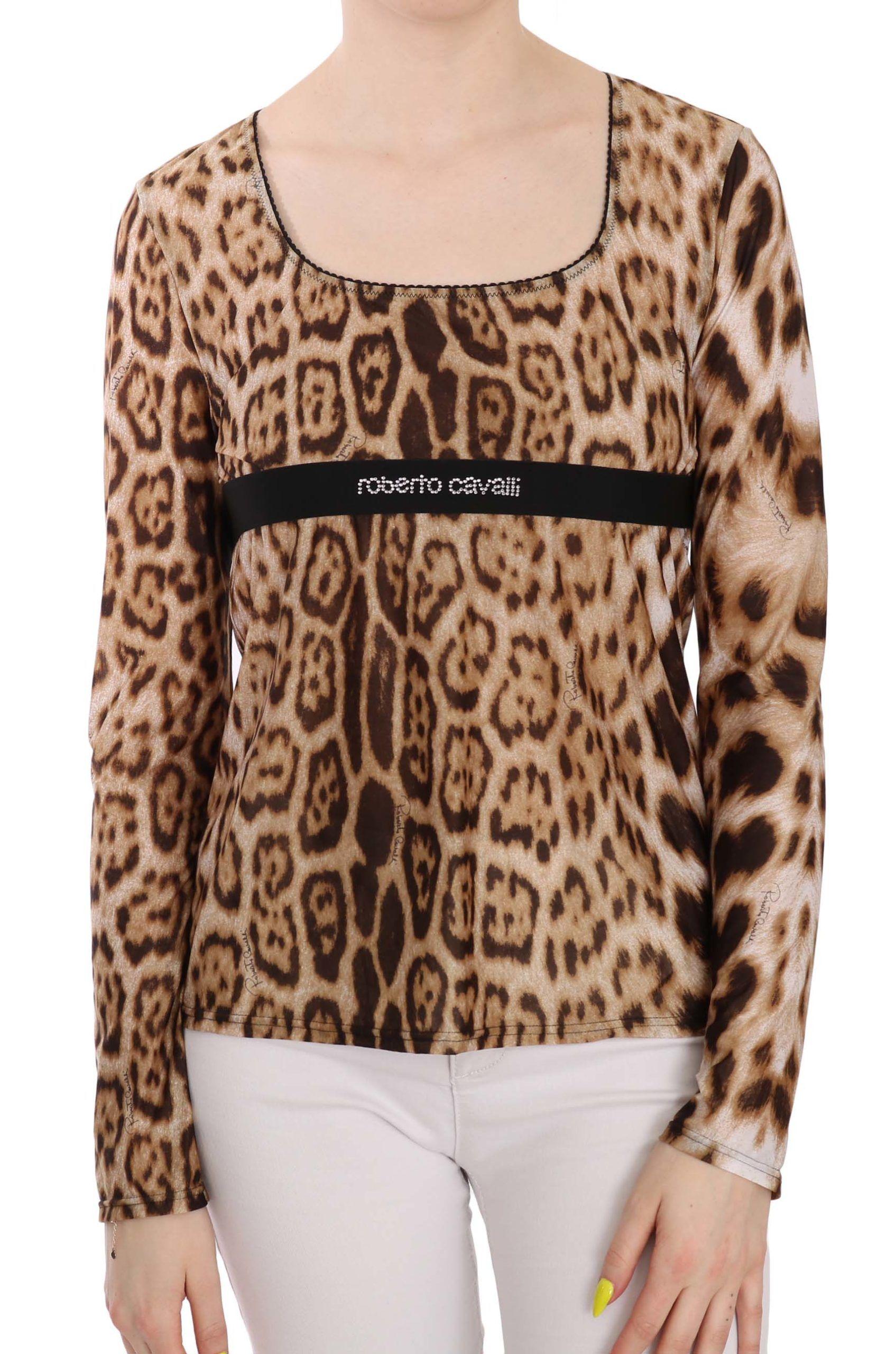 Roberto Cavalli Brown Round Neck Leopard Women Top Blouse