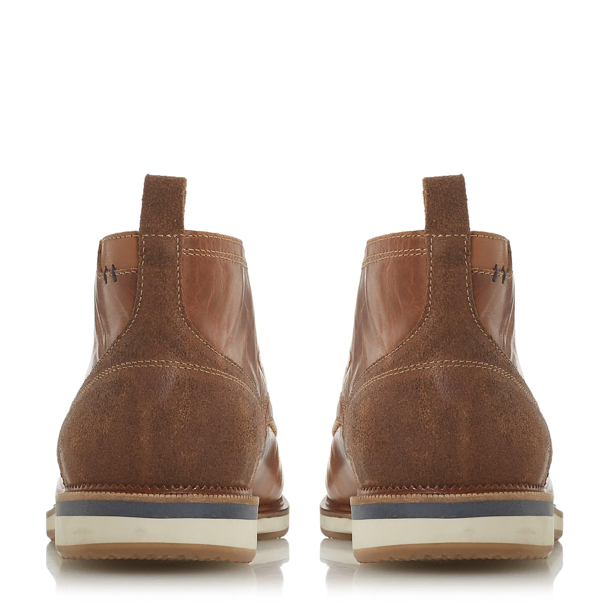 Dune Mens CAYENNE Contrast Heel Panel Chukka Boots