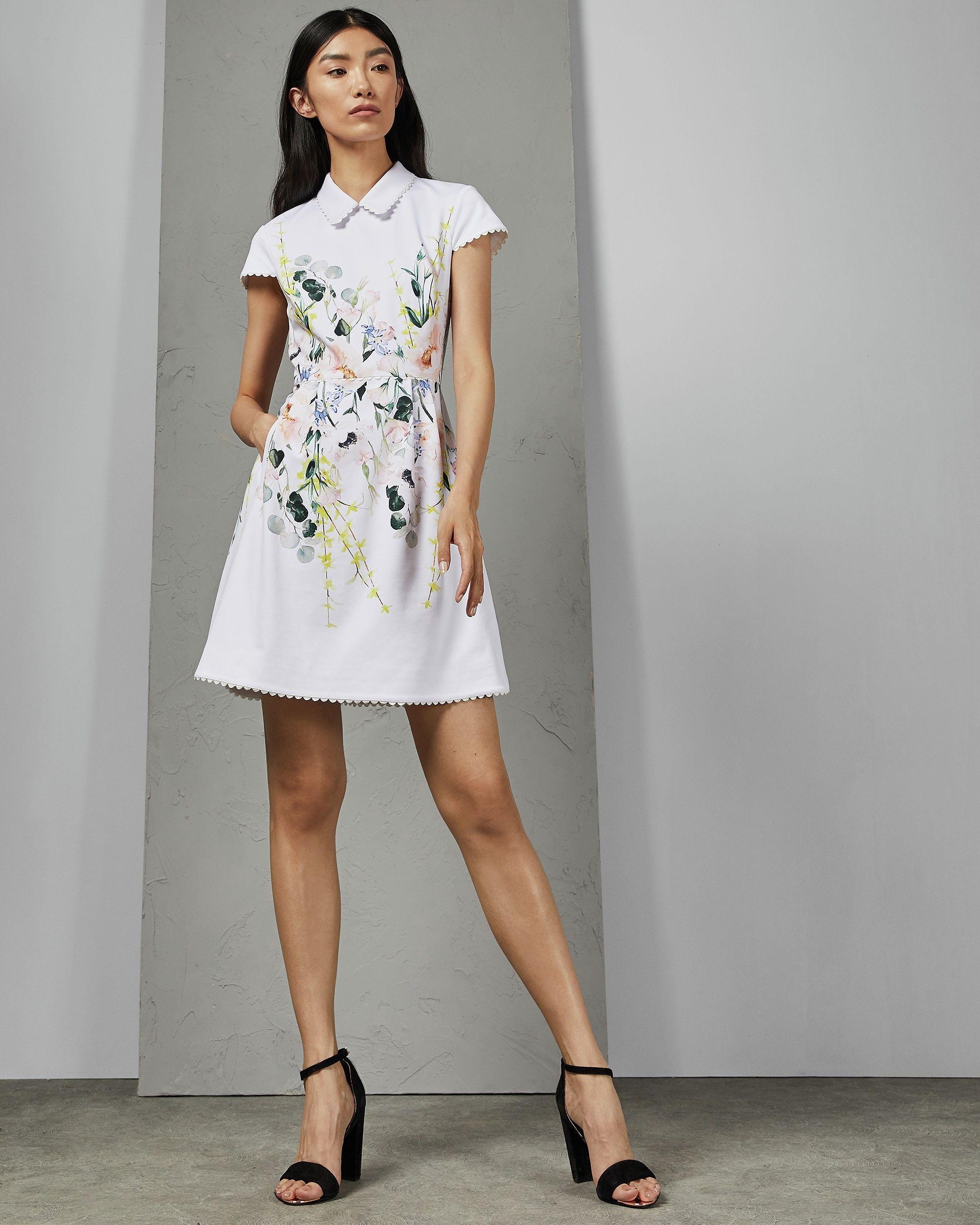 Ted Baker Charsy Elegance Scallop Ponte Dress, White