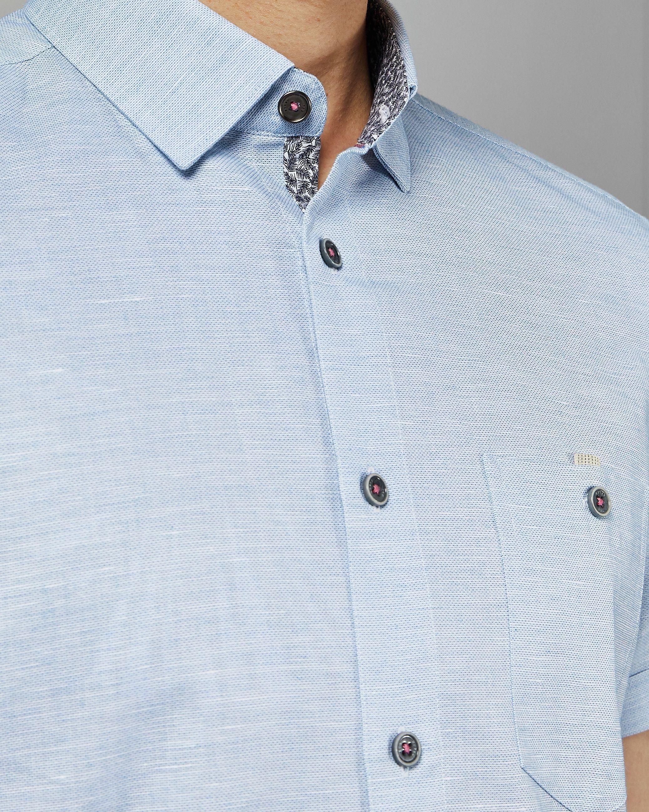 Ted Baker Clion Short-Sleeved Linen Shirt, Blue